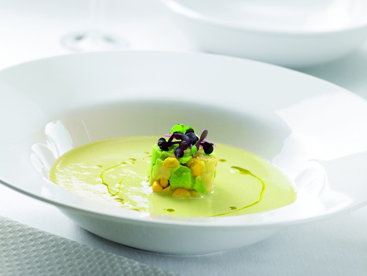 Green Tomato Gazpacho with Smoked Corn Avocado and Shiso.jpg