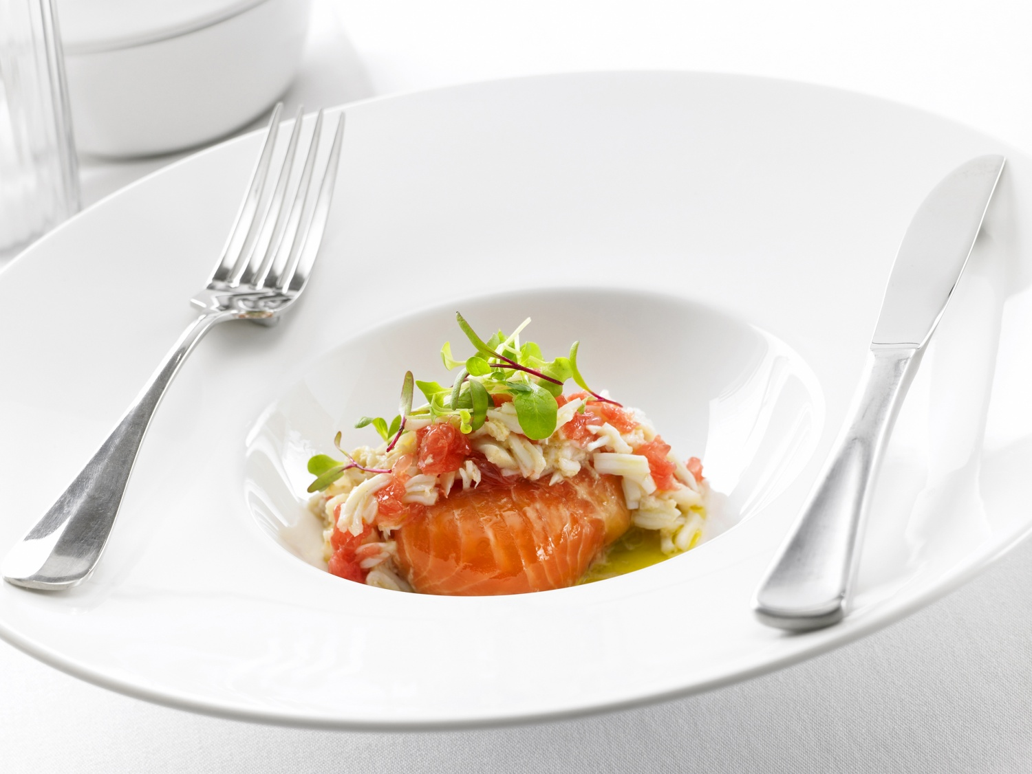 Salt and Wet Cured Pink Ocean Trout with Avocado and Crab Mousse.jpg