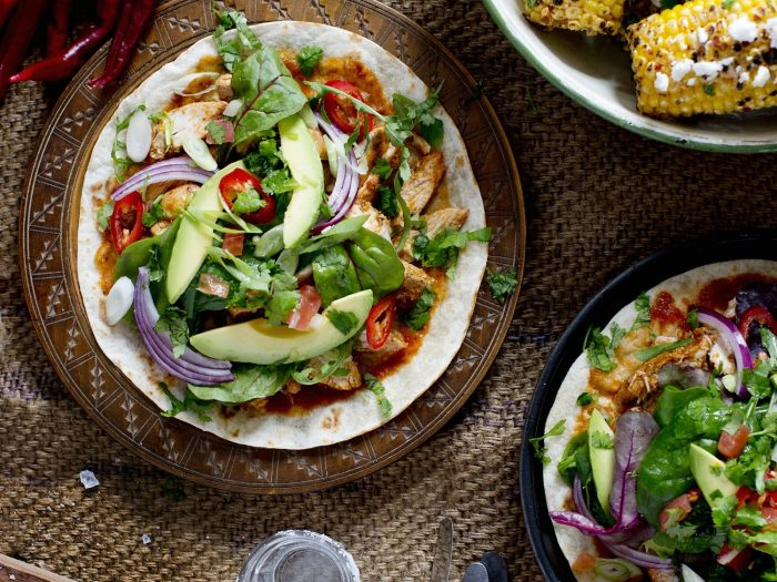 Fajitas with chicken, salsa and salad.jpg