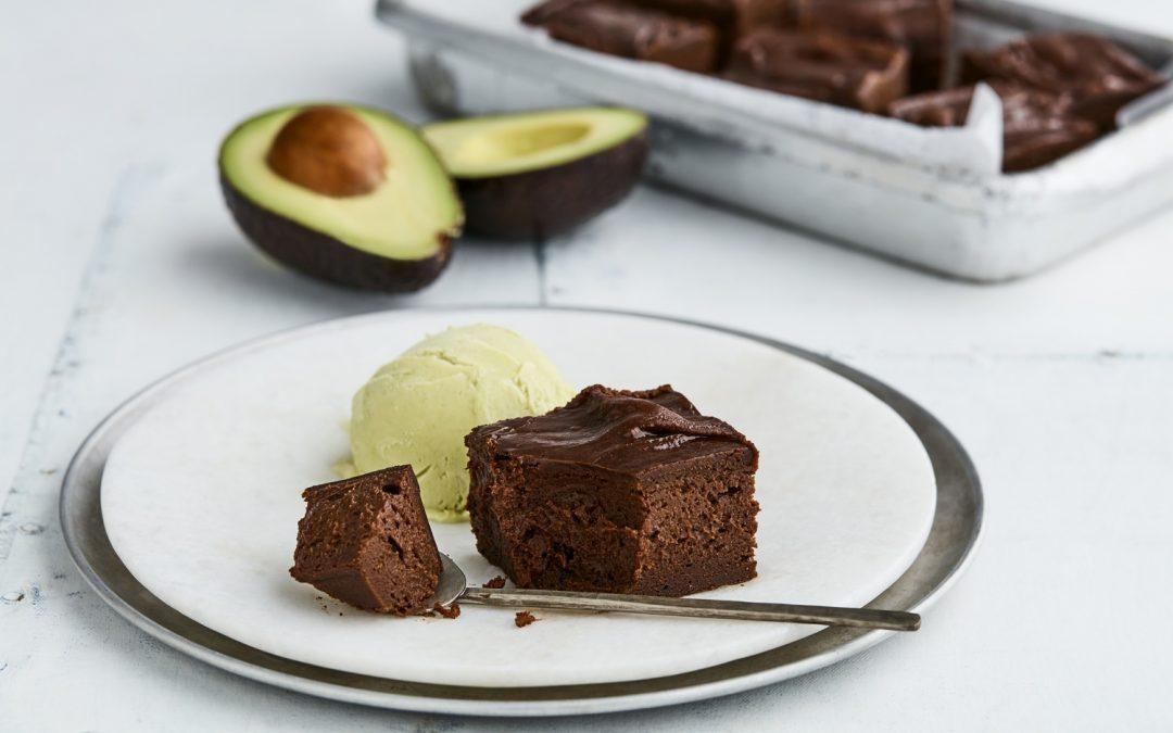 Brownie with avo ice cream