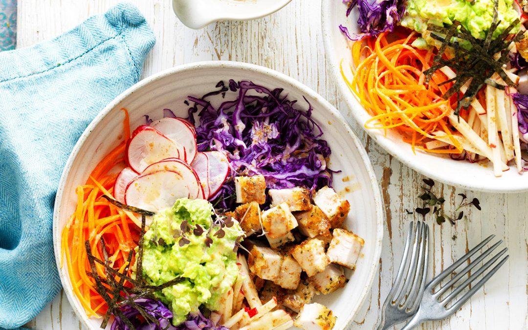 Avocado, Chicken and Cabbage Nourish Bowl