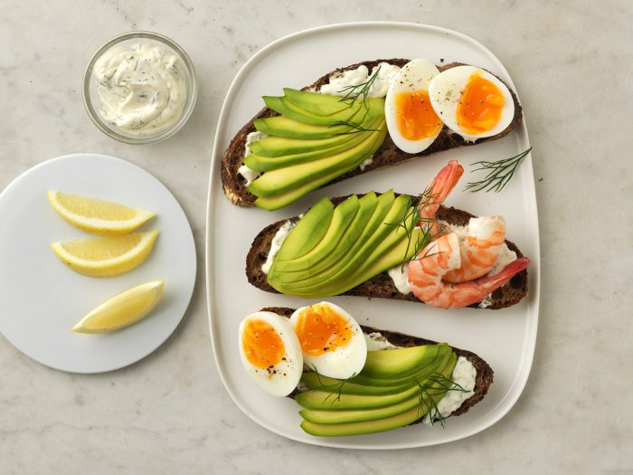 Boiled egg and avocado open sandwich