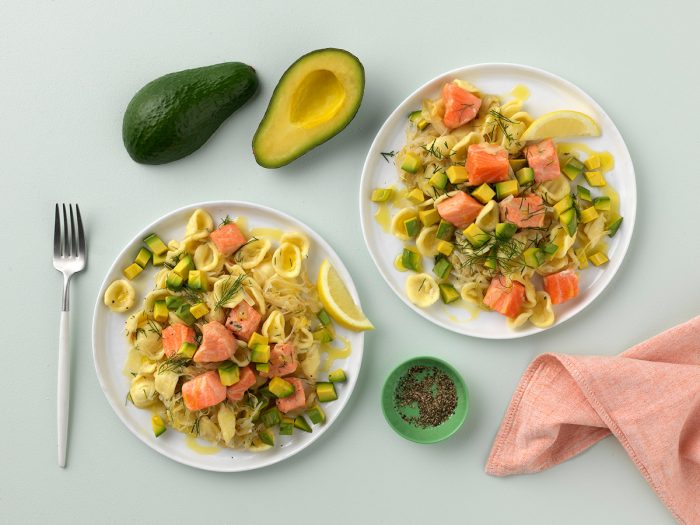 Avocado and ocean trout pasta