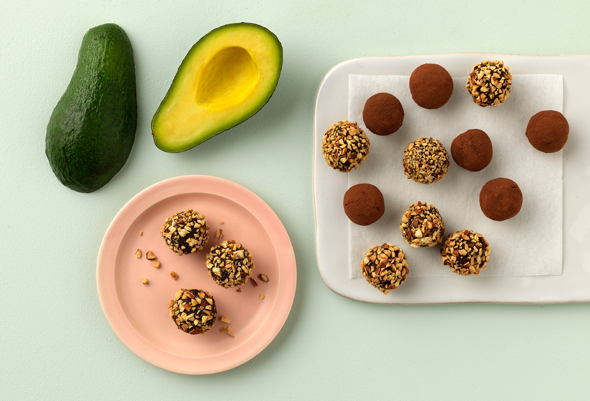 Raw avocado chocolate truffles