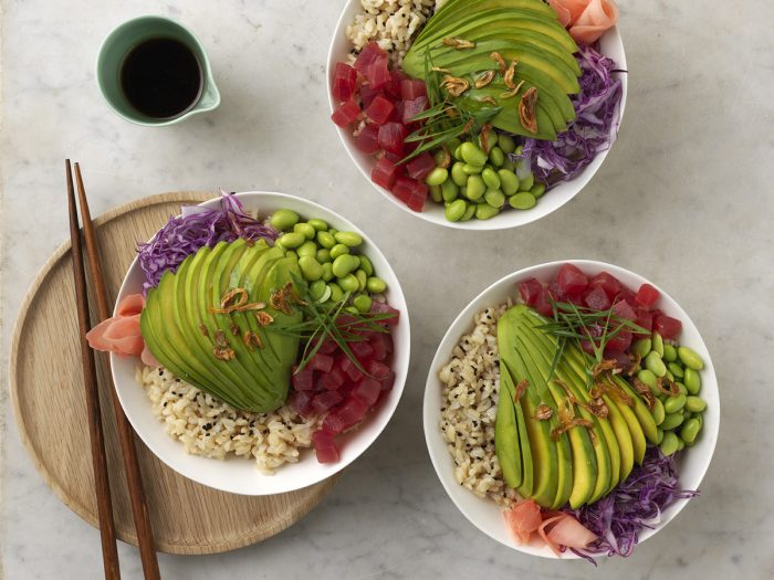Avocado and tuna brown rice poke bowl