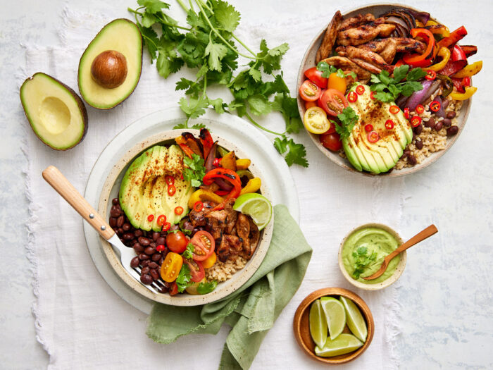 Avocado loaded fajita bowl