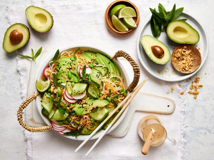 Avocado, cucumber, edamame & soba noodle salad