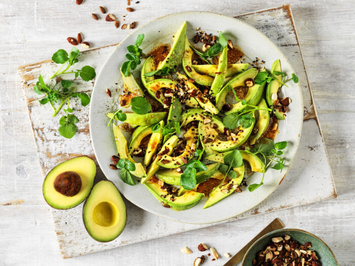 Avo Salad with Miso Ginger dressing