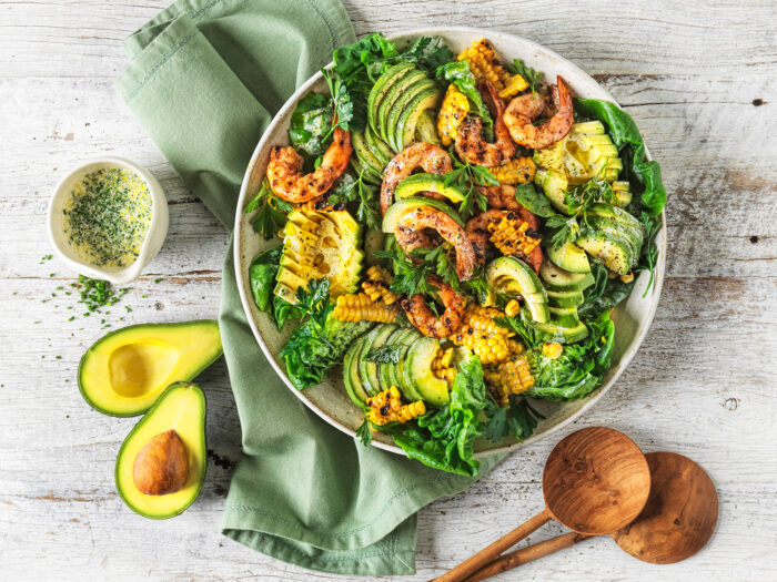Avocado and Smokey Prawn salad