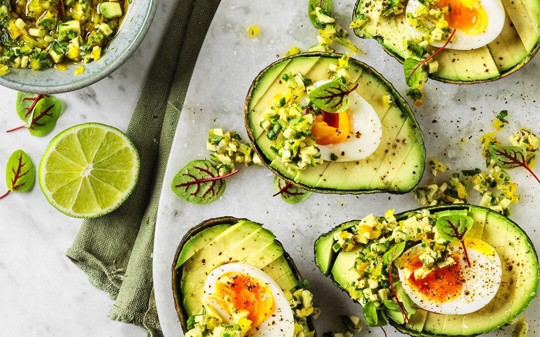 Avocado with soft-boiled egg and avocado-jalapeno salsa