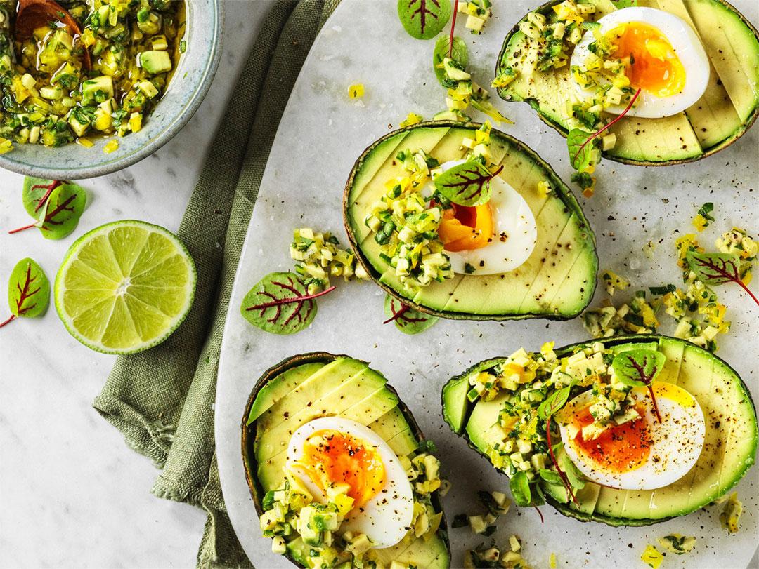 Avocado with soft boiled egg