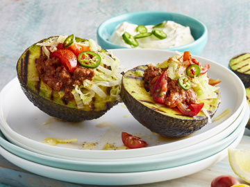Grilled Avocado with Taco Filling