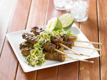 BBQ avocado chicken skewers
