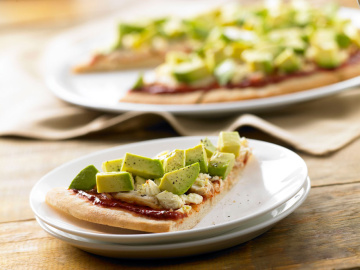 Chicken, avocado and feta pizza