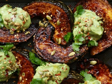 Thai-style Roasted Pumpkin Wedges with Avocado Dressing and Crunchy Seeds