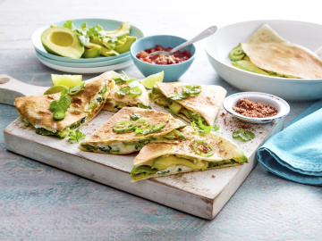 Spicy avocado, egg and three cheese quesadillas