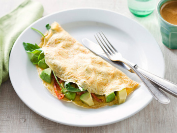Avocado, rocket and tomato omelette